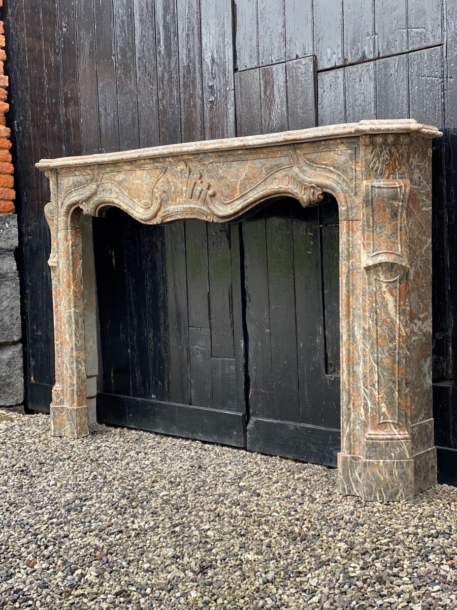 Louis XV Fireplace In Gray Ardennes Marble-photo-1