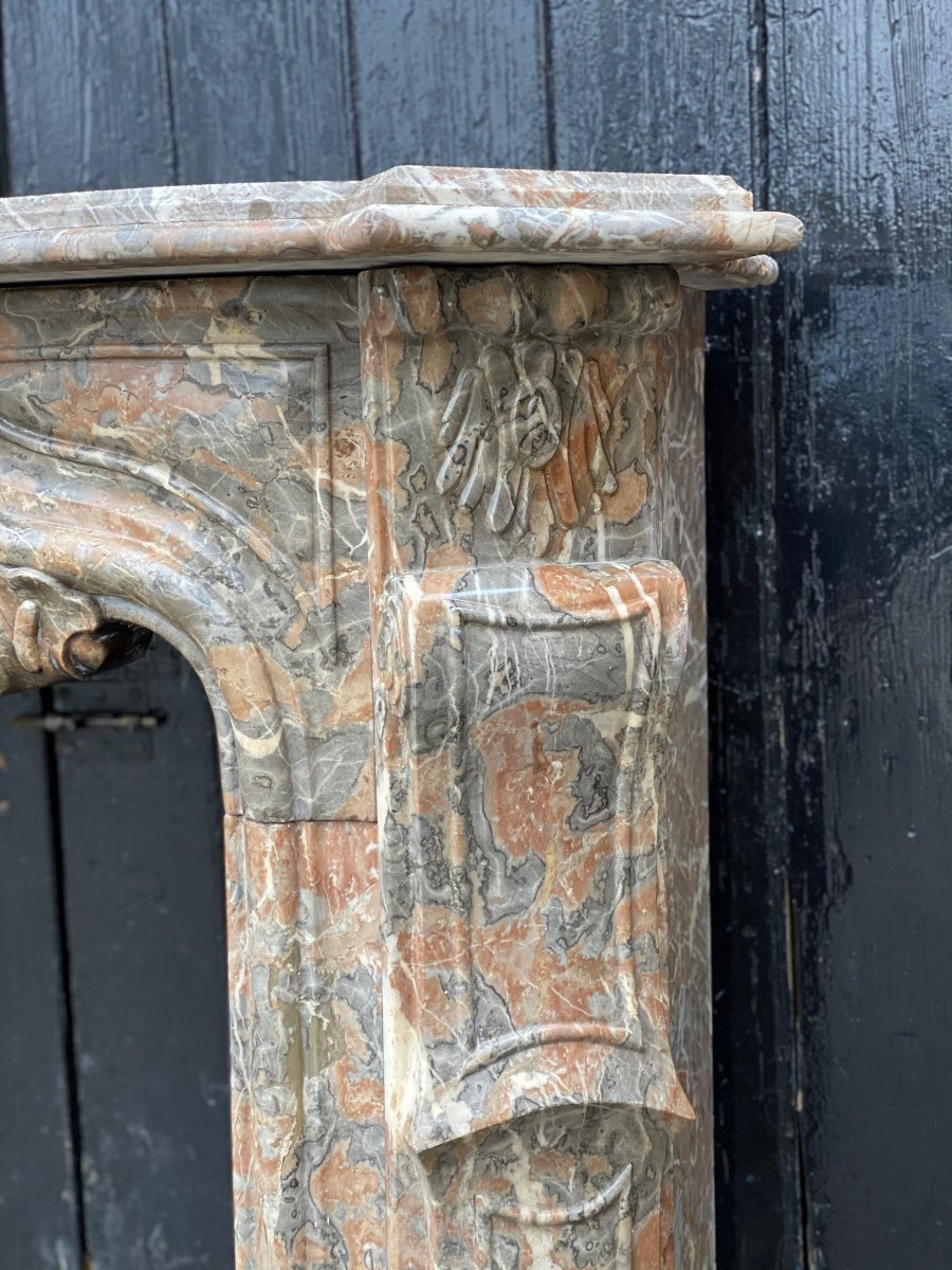Louis XV Fireplace In Gray Ardennes Marble-photo-4