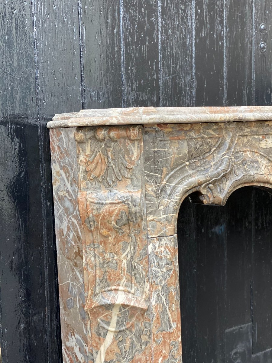 Louis XV Fireplace In Gray Ardennes Marble-photo-5