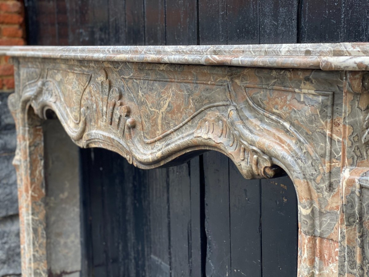 Louis XV Fireplace In Gray Ardennes Marble-photo-7