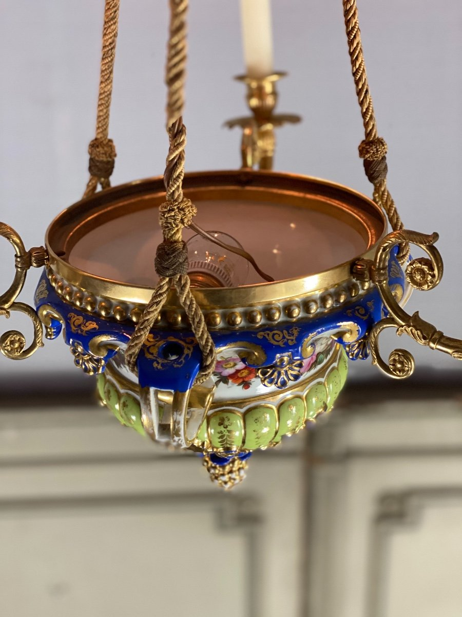 Lustre En Porcelaine, Trois Bras De Lumière En Bronze Et Cuivre Doré, XIXéme Siècle -photo-2
