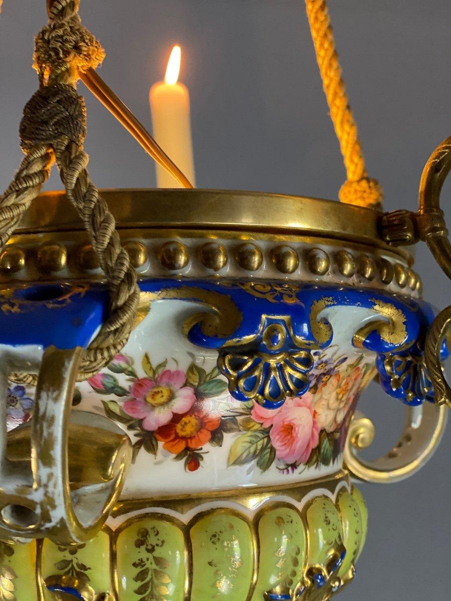 Lustre En Porcelaine, Trois Bras De Lumière En Bronze Et Cuivre Doré, XIXéme Siècle -photo-3