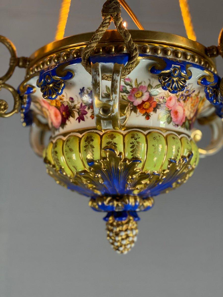 Lustre En Porcelaine, Trois Bras De Lumière En Bronze Et Cuivre Doré, XIXéme Siècle -photo-4