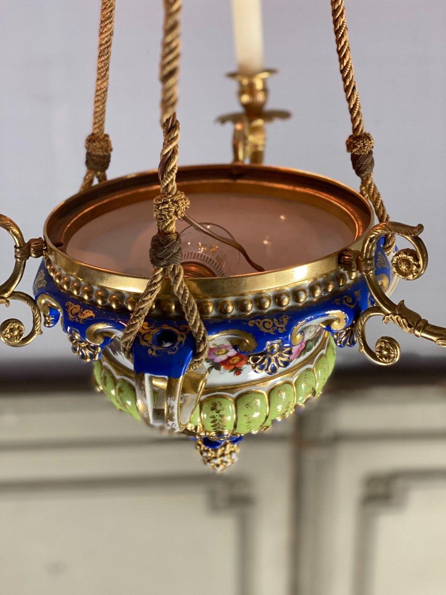 Lustre En Porcelaine, Trois Bras De Lumière En Bronze Et Cuivre Doré, XIXéme Siècle -photo-6