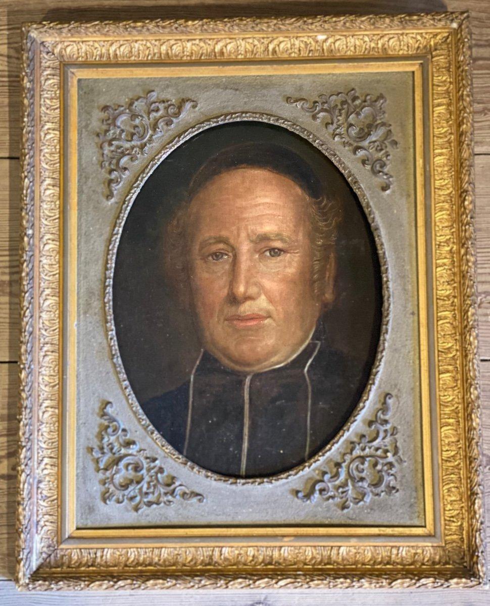Portrait D'un Ecclésiastique, Huile Sur Toile Marouflée Sur Panneau XIXème Siècle