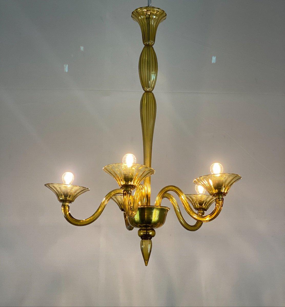 Lustre Vénitien En Verre De Murano De Couleur Jaune Ambre, 5 Bras De Lumière