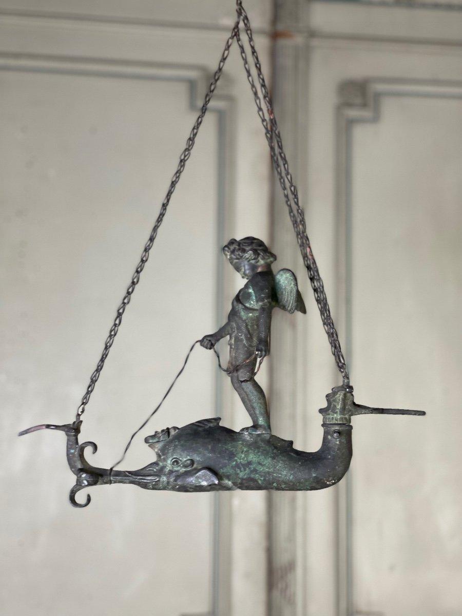 Lampe à Huile En Bronze Patine Fouille, Objet Du Grand Tour, XIXème Siècle