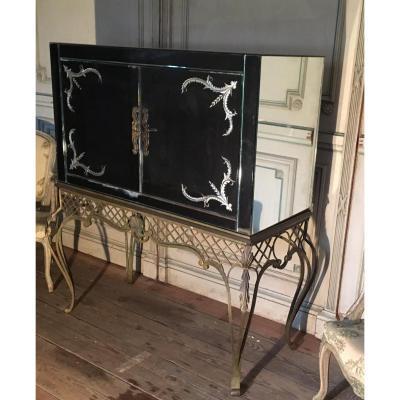Meuble bar en miroir sur console en fer forgé 1940