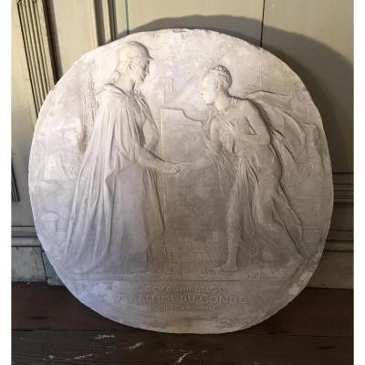 Sculpture, Projet De Médaille Signée Jules Lagae Plâtre Original