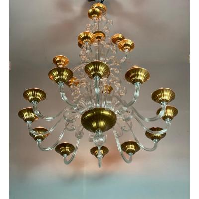 Lustre Vénitien en verre de Murano transparent  Trois étages, 21 bras De Lumiere