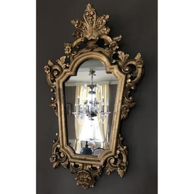 Miroir En Bois Sculpté Doré d'époque Régence