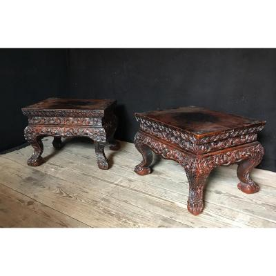 Pair Of Sculpted Wooden Base, China