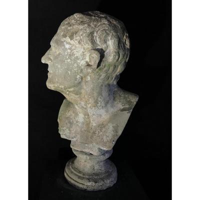 Buste De Demosthenes En Pierre Reconstituée Fin XIXeme Siècle