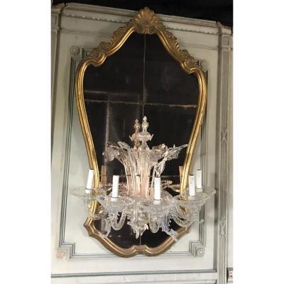 Miroir Vénitien Garni d'Un Demi Lustre De Murano