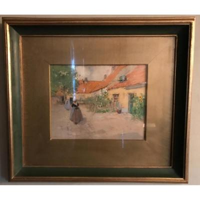 "Watercolor Drawing ""village Scene"" Henri Cassiers"