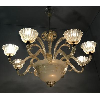 Murano Glass Chandelier Circa 1940, 8 Arms Of Light