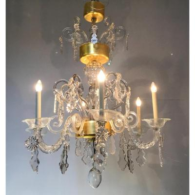 Liégeois Chandelier, 6 Arms Of Light, XVIIIth Century