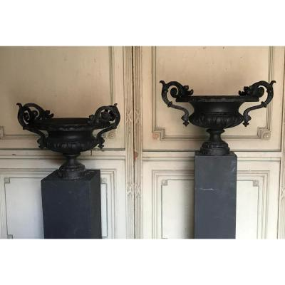 Pair Of Garden Urns  In Cast Iron