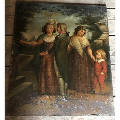 Huile Sur Toile Marouflée Sur Panneau»une Famille»