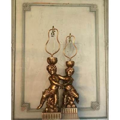 Deux Enfants En Bois Sculpté Doré, Lampes De Table