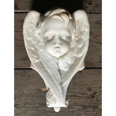 Tête D'angelot En Marbre Blanc De Carrare