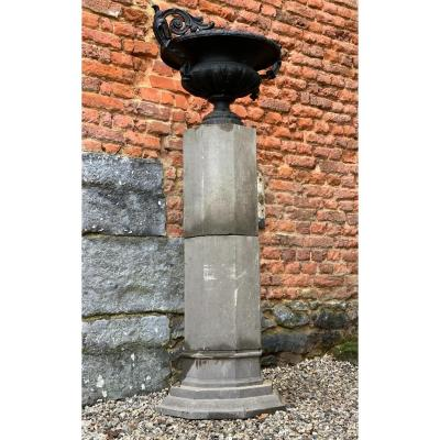 Pair Of Octagonal Columns In Blue Stone