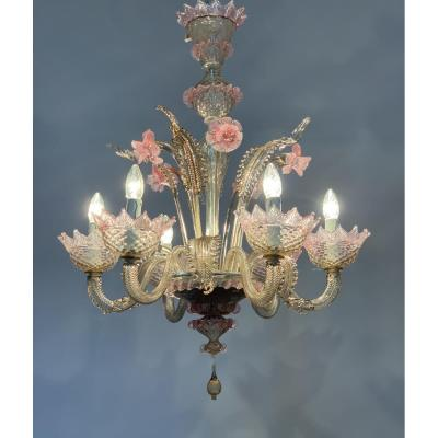 Venice Glass Chandelier Rose And Mordore, Six Arms Of Light