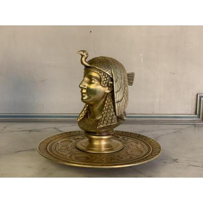 Encrier En Bronze Doré, Egyptomanie