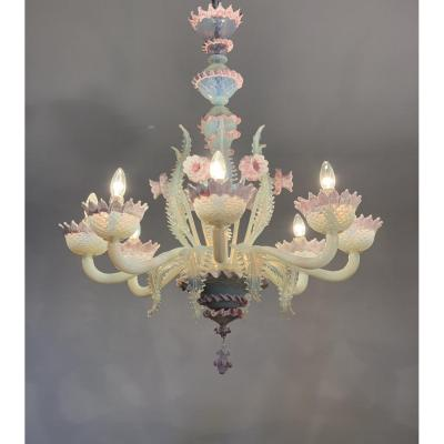 Murano Glass Chandelier, Venice, Blue And Pink