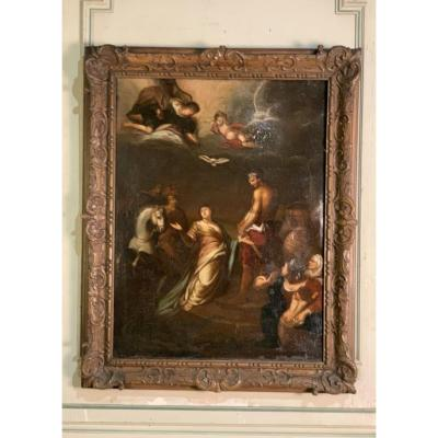 Oil On Canvas, Religious Scene, Carved Wood Frame, Eighteenth Century