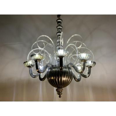 Silver Murano Glass Chandelier 8 Light Arms