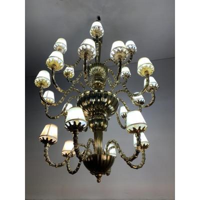 Venetian Murano Glass Chandelier Golden Around 1980
