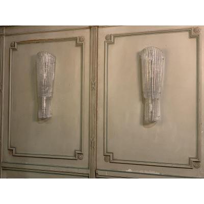Paire d'Appliques En Verre De Murano Art-deco