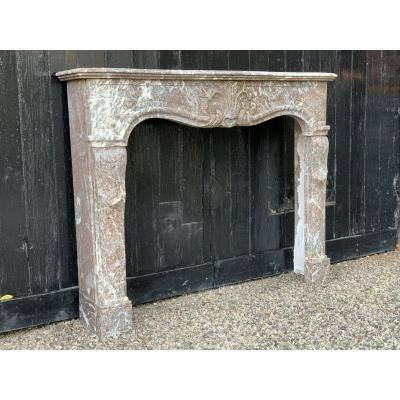 Louis XV Fireplace In Gray Marble Of The Ardennes, Eighteenth Century