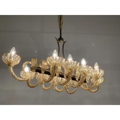 Murano Glass Chandelier Golden And Mordore, Venice 1940