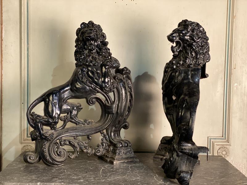 Pair Of Cast Iron Andirons-photo-4
