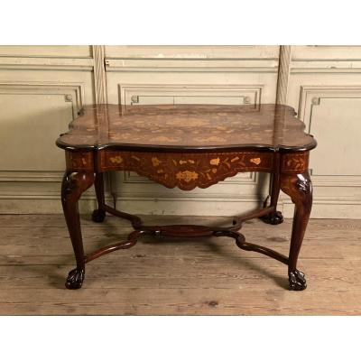 Table En Marqueterie Hollandaise, XIXème Siècle
