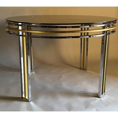 Dining Table In Chrome And Matte Golden Brass Around 1980