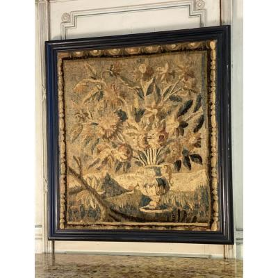 Wool And Silk Tapestry, Vase Of Flowers, Aubusson XVIIIth Century