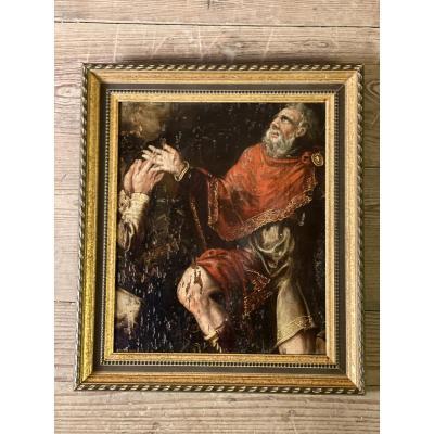 Fragment D'une Huile Sur Panneau, XVIIIème Siècle