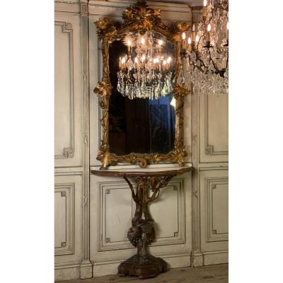 Console Et Son Miroir En Bois Sculpté Et Doré, Italie Du Nord, XIXème Siècle