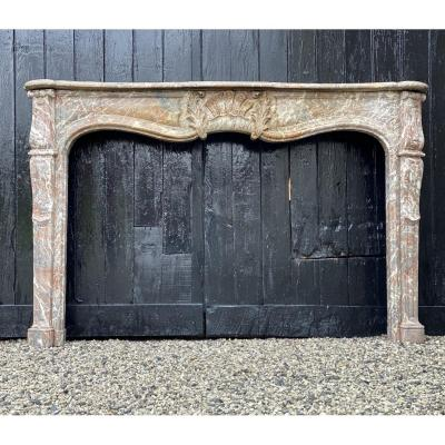 Fireplace In Gray Marble Of The Ardennes Louis XV Style Early XIXth Century