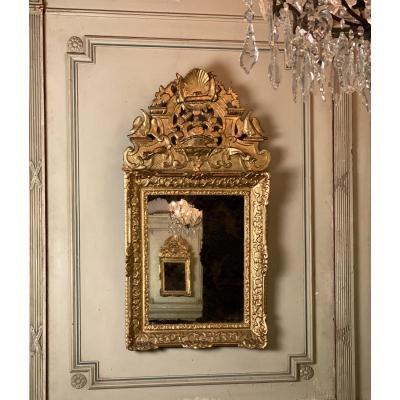 Miroir Régence En Bois Sculpté Doré, Début XVIIIème Siècle