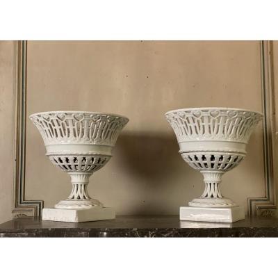 Paire De Coupes Ajourées En Porcelaine