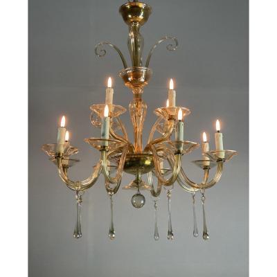Lustre En Verre Mordoré, Deux étages Et 12 Bras De Lumière Vers 1940
