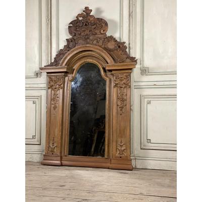 Painted Carved Wood Mirror, XVIIIth Century