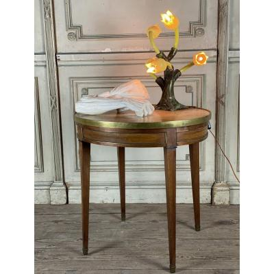 Mahogany Table, Brass Fillets And Marble Tablet In Louis XVI Style