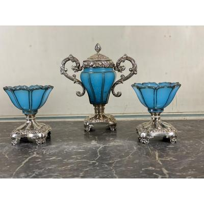 Condiment Service In Silver And Blue Opaline Glass