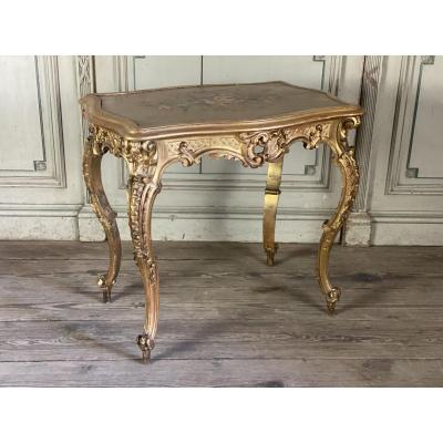 Louis XV Style Carved And Gilded Wood Table Circa 1880