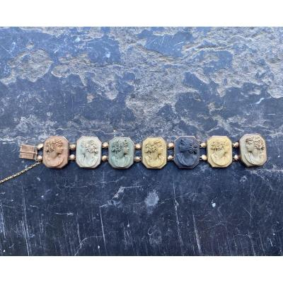 Bracelet En Pierre De Lave, Médaillons à L'antique, XIXème Siècle